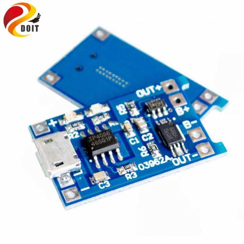 Official DOIT 5V Micro USB 1A 18650 Lithium Battery Charging Board With Protection Charger Module 5pcs 1s 3 7v li ion lithium charging protection board pcb pcm round 12mm 18650 lithium charger module overcharge protection