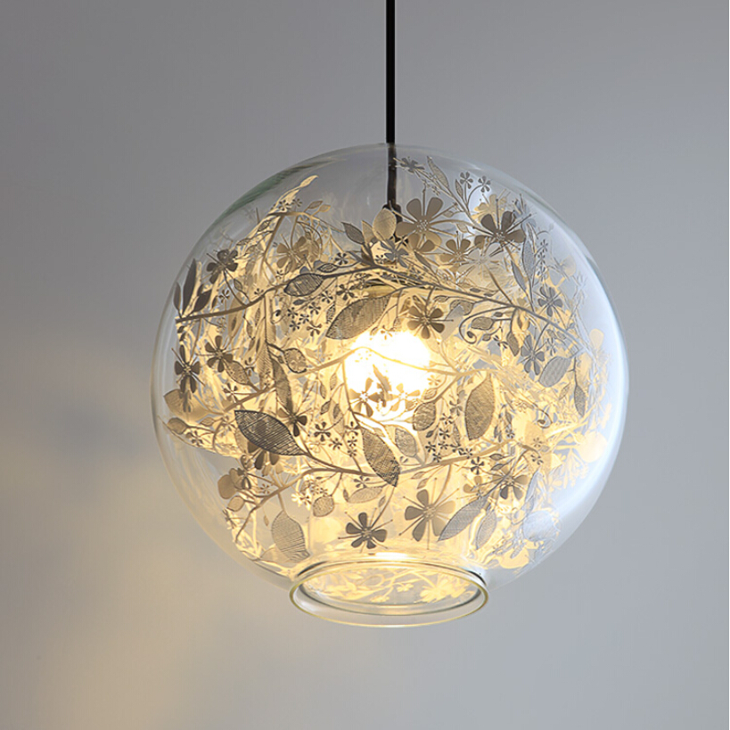Metal Flower & Glass Shade pendant lights Modern Living Room Dining Room Bedroom Bathroom Pendant lamp E27 a1 master bedroom living room lamp crystal pendant lights dining room lamp european style dual use fashion pendant lamps