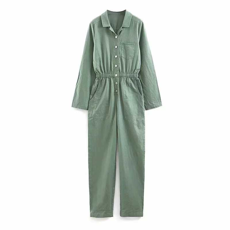 여성용 점프 슈트 2019 vintage military overalls 긴 소매 카고 점프 슈트 lady pocket elastic wasit rompers womens jumpsuit