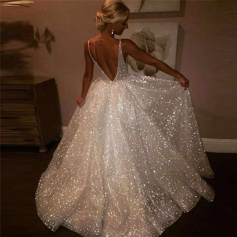White Formal Bridesmaid Women Long Sequin Deep V-neck Backless Wedding Elegant Sparkle Sequine Maxi Dress Female Sleeveless Gown
