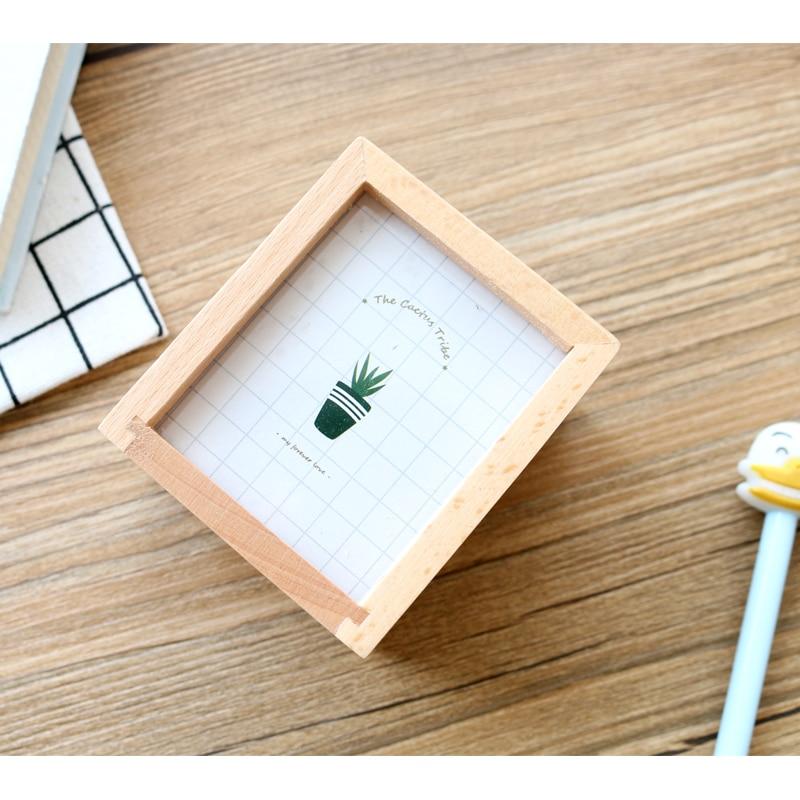 JIANWU Succulent plants Wooden pen container Multifunctional photo frame pen insertion kawaii 1