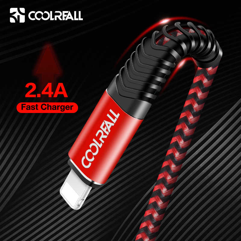 Coolreall USB Cable for iPhone Xs max Xr X 8 7 6 plus 6s 5 s plus iPad 2.4A Fast Charging Cable Cord Mobile Phone Usb Data Cable