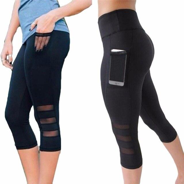 CROSS1946 Yoga Leggings Capri Pant Leggins Sport Women Fitness Yoga Pants Gym High Waist Legging Women Black Mesh 3/4 Pants