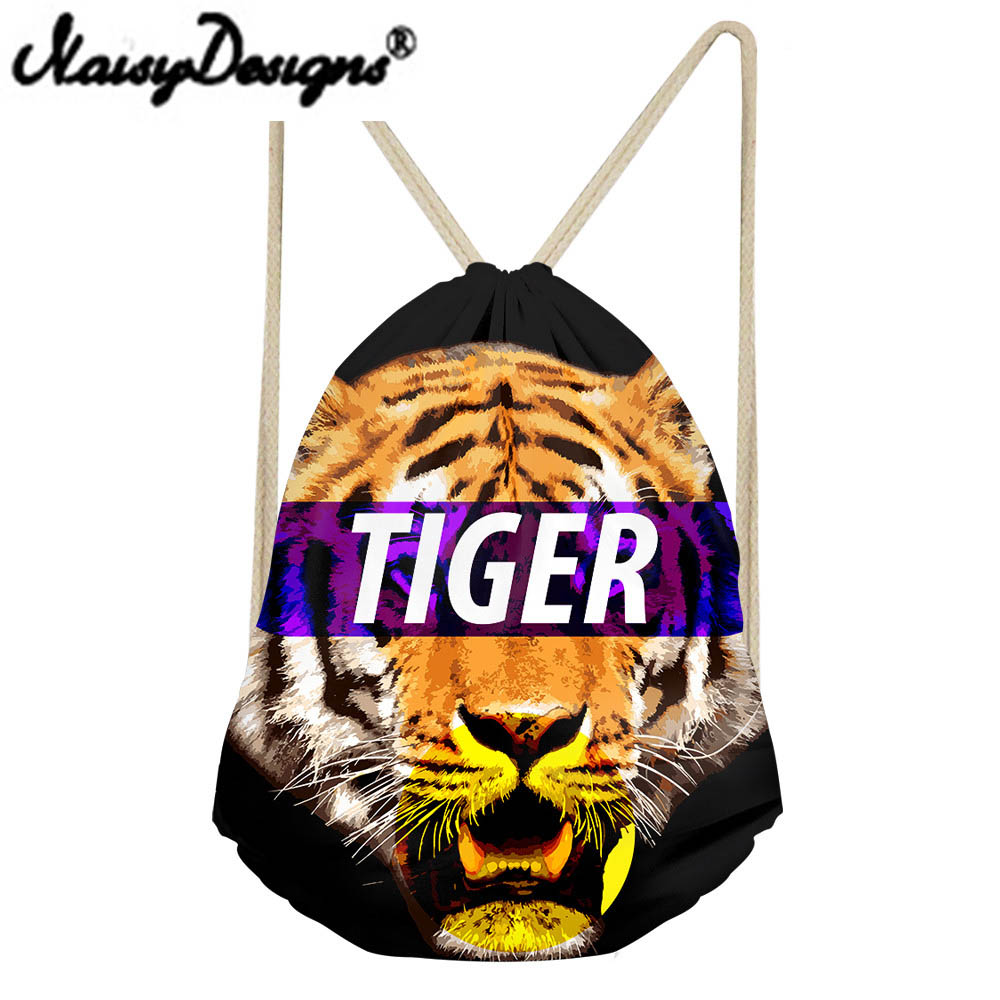 NOISYDESIGNS Men's Cool Bags 3Danimals Tiger Printed Drawstring Backpack School Bags For Teenage Boys Unisex Mochila Infantil