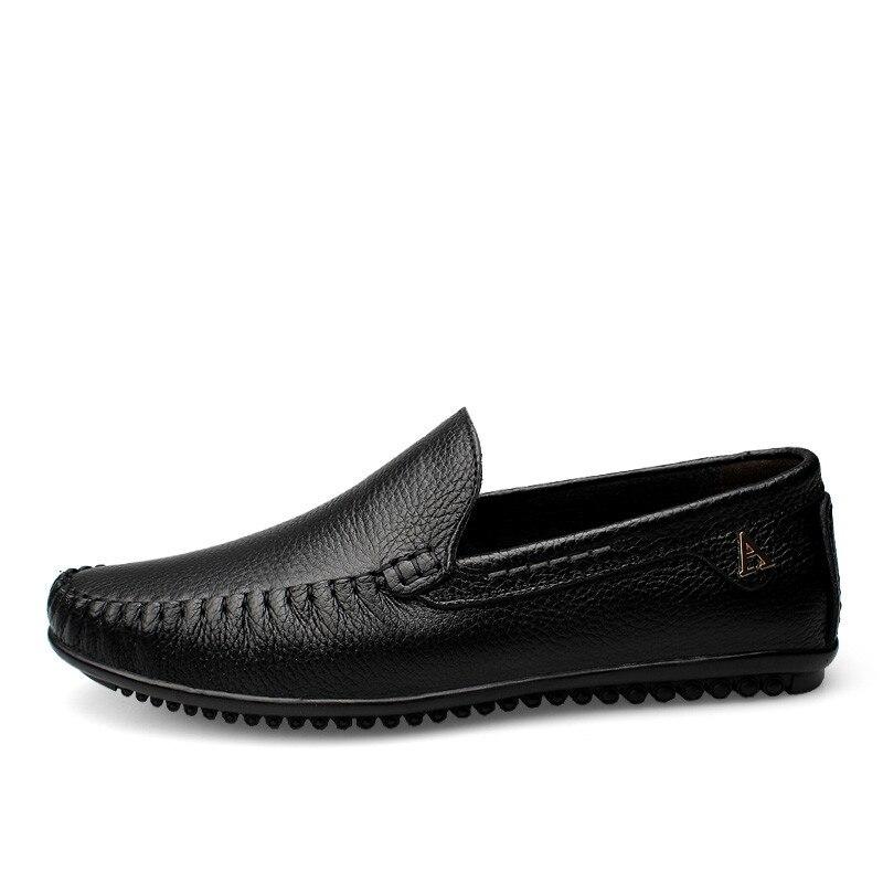 Décontracté en cuir véritable chaussures pour hommes sans lacet conception conduite hommes chaussures plates à la main marque mâle mode bateau mocassins grande taille - 2