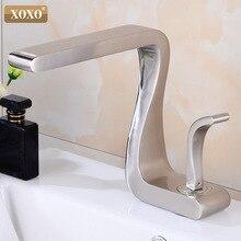 XOXO grifo de lavabo de latón negro, mezclador para lavabo con una sola manija caliente y fría, montado en cubierta, para baño, 21035