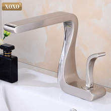 XOXO robinet de lavabo en laiton noir chaud et froid, mitigeur de lavabo à une poignée, robinets de salle de bains montés sur le pont, robinet de lavabo 21035