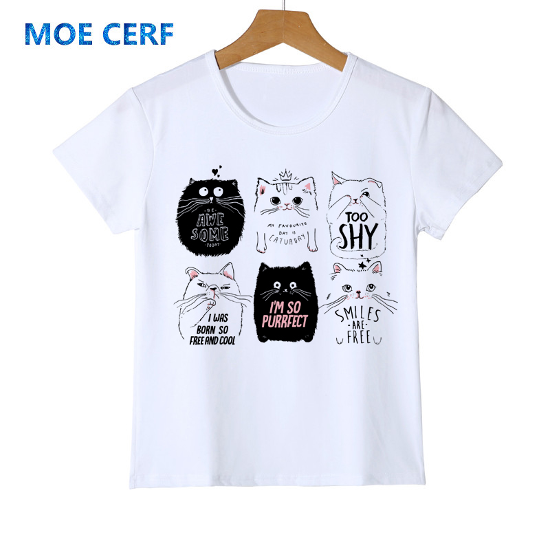 Jungen Kleidung Marke Sommer Harajuku Tier Katze Print Kid T Shirt Kurzarm Jungen T Shirt Mädchen Tops Teen T-shirt Kinder Kleidung Y14-2 100% Hochwertige Materialien