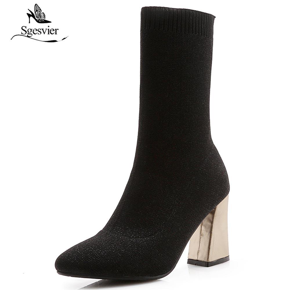 Sgesvier/Женская обувь; модные носки; Ботинки Martin без шнуровки; ботинки до середины икры на массивном высоком каблуке; полуботинки; Zapatos de mujer; Цве