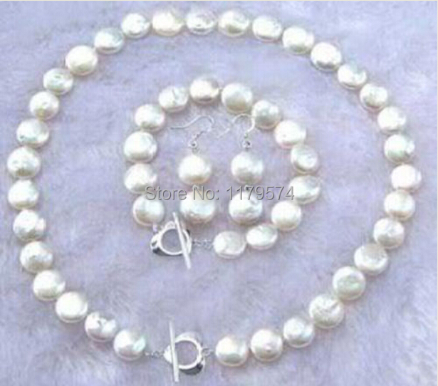 Hot fashion style 11-12MM Natural White Coin Pearl Necklace Bracelet Earrings Sets Jewelry Sets Fashion Jewelry Making W00126