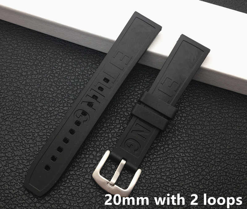 Top quality Soft Rubber silicone Watch band 20mm 22mm Black bird Watchband Bracelet For navitimer/avenger/Breitling strap tools