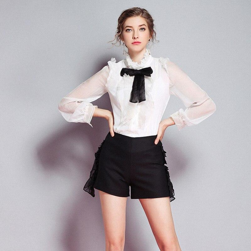 Nouvelle Arc Femmes Blanc Volants Designer De Pleine Chemisier Noir 7waTqdR