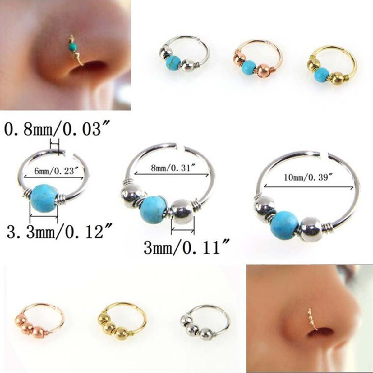 septum ring septum piercing ring 20 gauge 8 mm septum Hoop Septum Hoop in 925 Sterling Silver