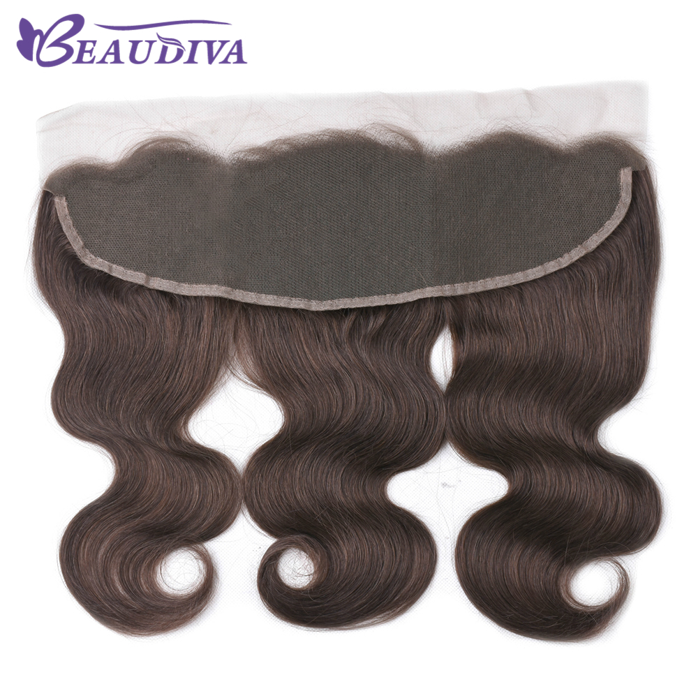 Beaudiva Hair Ear To Ear Lace Frontal Closure 13X4 Free Part With Baby Hair 2# 4# Brazilian Straight Human Hair Remy Hair