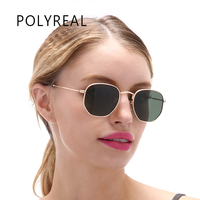 POLYREAL Fashion Vintage Polarized Hexagonal Sunglasses Men Driver Brand Designer Women Mirror Shades Sun Glasses Unisex