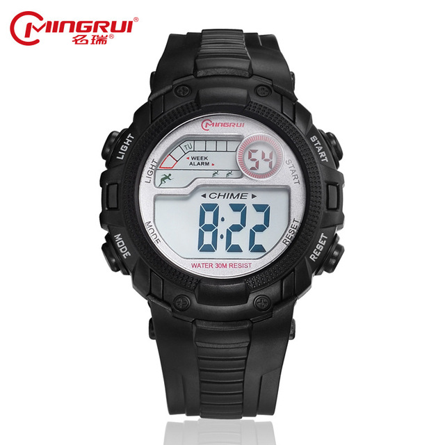 MINGRUI Digital Watch Children Waterproof Silicone Sport Watches Students Kids F