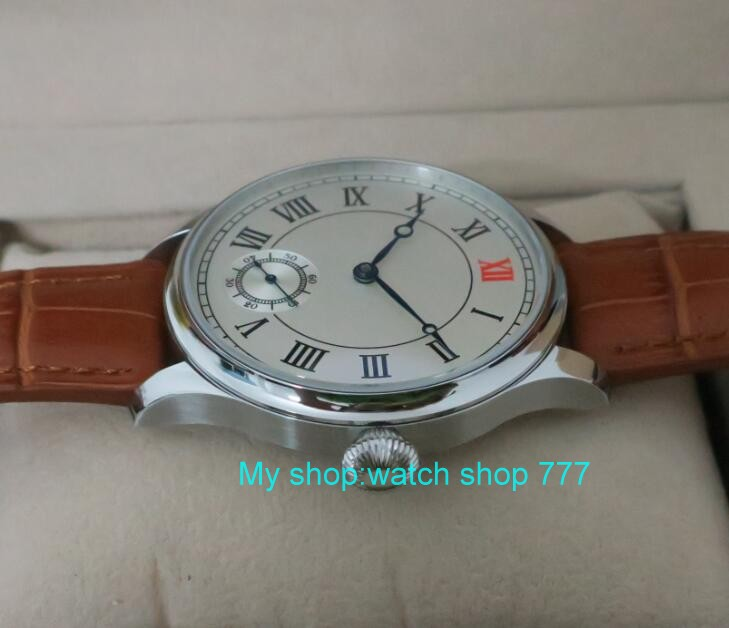 44 mm PARNIS White dial Asian 6498/3621 Mechanical Hand Wind men watches Mechanical watches wholesale 389