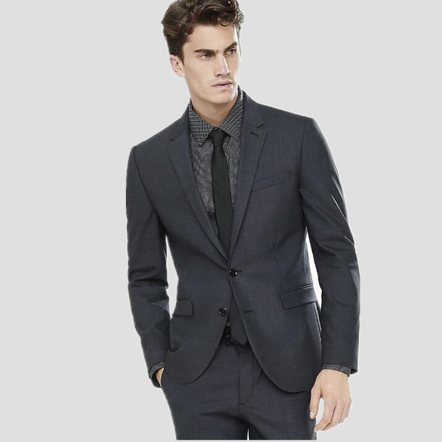 Charcoal Men S Wedding Suits Custom Made Slim Fit Handsome Groom Tuxedos For Groomsman
