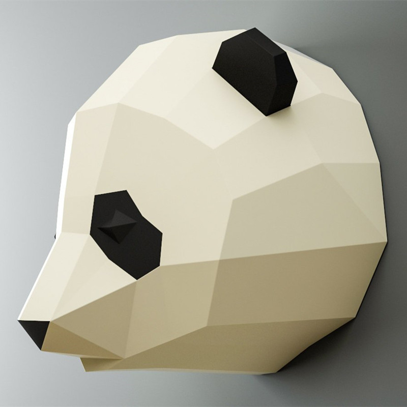 30min Complete DIY 3D Giant Panda Head Paper Sculpture Papercraft Puzzle Toy Educational Folding Model Christmas Gift