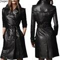 Бесплатная доставка женщин двубортный качество черный цвет кожа pu тонкий фитнес кожаный плащ 155