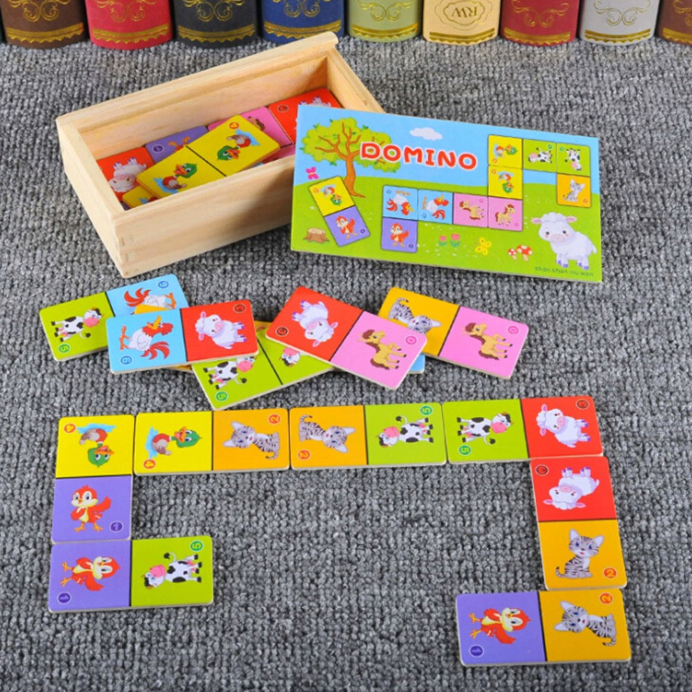 Cognition Domino Montessori Childrens Wooden Toys Board Game High-grade Kids Puzzle Jigsaw Early Learning Educational Puzzle Toy