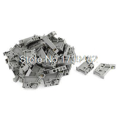 50Pcs 35mm DIN Rail Screw Fixed Terminal Block End Stopper Mounting Clips