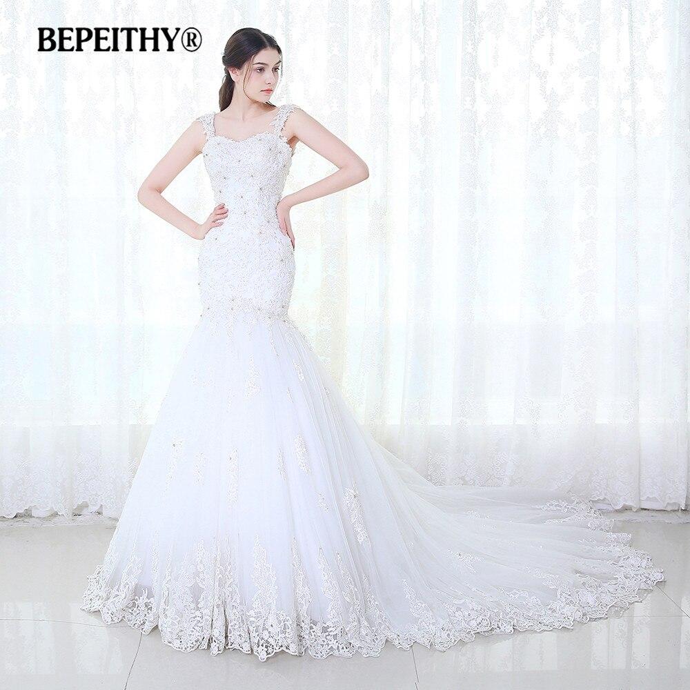 BEPEITHY Sereia Do Vestido de Casamento Vestidos De Novia 2019 Lace Vintage Frisado Luxuoso Trem Tribunal Vestidos de Noiva Venda Quente