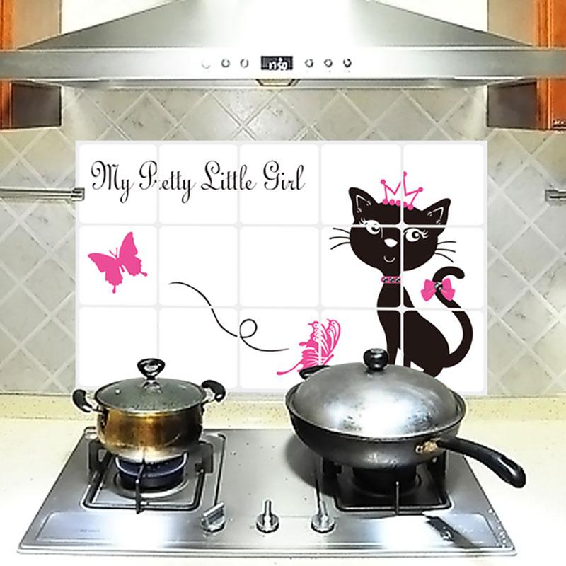 Home Decor Balck Cat Butterfly Kitchen Room Anti Oil Wall Sticker Cartoon Mural Art Foil Decals