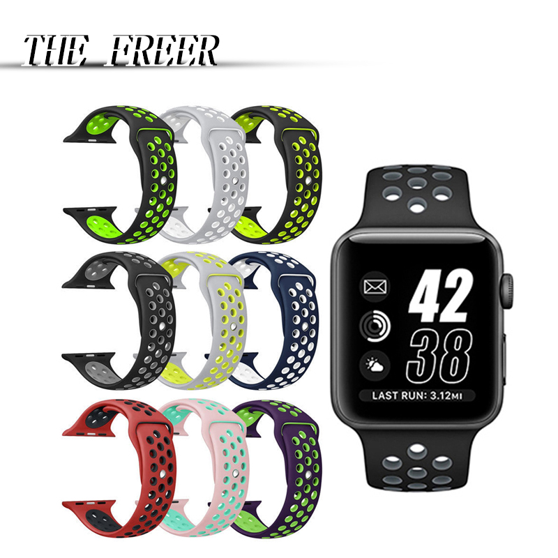 Brand sport Silicone band strap for apple watch nike 42mm 38mm bracelet wrist band watch watchband For iwatch apple strap 3/2/1 jansin 22mm watchband for garmin fenix 5 easy fit silicone replacement band sports silicone wristband for forerunner 935 gps