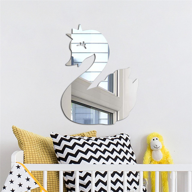 New Creative Acrylic Mirror Wall Sticker 1PC Nordic Cartoon Mirror Sticker Kids Room Wall Decoration Stickers 0301#30