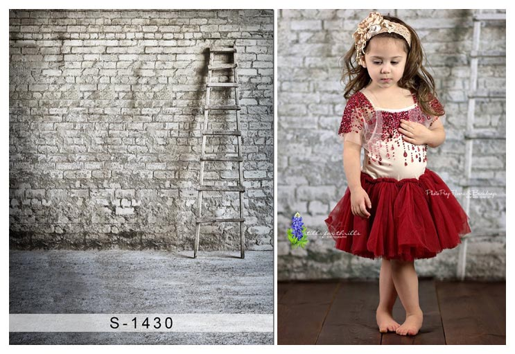 Custom vinyl cloth brick wall with ladder photography backgrounds for baby wedding photo studio photographic backdrops S-1430 7x5ft vinyl photography background white brick wall for studio photo props photographic backdrops cloth 2 1mx1 5m