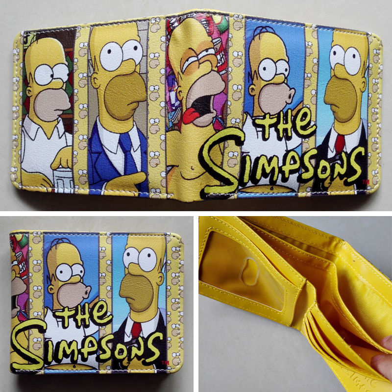 Anime The Simpsons Homer J. Simpson Logo wallets Purse Multi-Color 12cm Leather W114 2018 movie the terminator t850 skull logo wallets purse multi color 12 cm leather w211