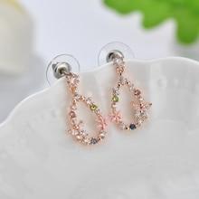 Trendy Water Drop Crystal Flower Earrings for Women Vintage Rose Gold Color Cubic Zirconia Wedding Party Earrings Jewelry Gift недорого