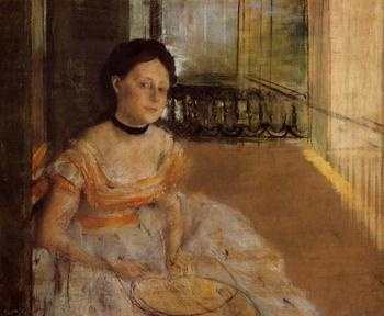 High quality Oil painting Canvas Reproductions Woman Seated on a Balcony (1872) By Edgar Degas hand painted