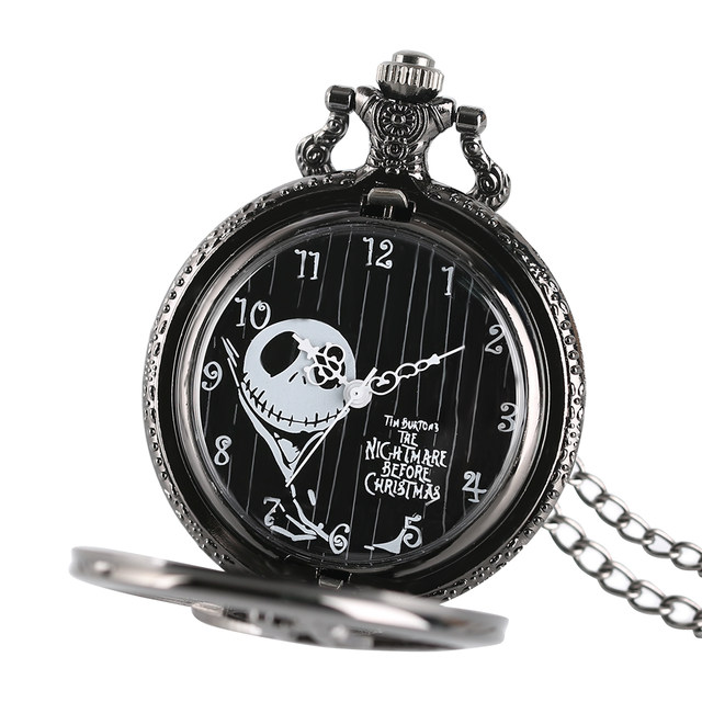 the nightmare before christmas jack skellington tim burton movie kid toys watches fashion black quarzt pocket watch gifts item - Nightmare Before Christmas Watch Online