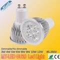 10 PCS Lâmpada Led Pode Ser Escurecido GU10 conduziu a luz 3 W 4 W 5 W 6 W 8 W 9 W 10 W 12 W 110 V-240 V Led Spotlight lâmpada led frete grátis