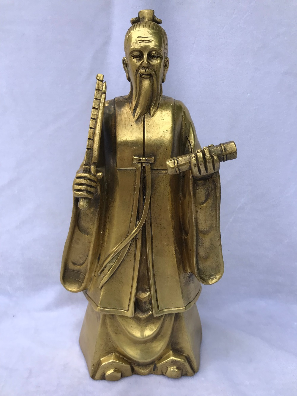 Chinese Brass Copper Sculpture Mythology Figure Jiang Ziya Statue Statues For Decoration Home Decorations