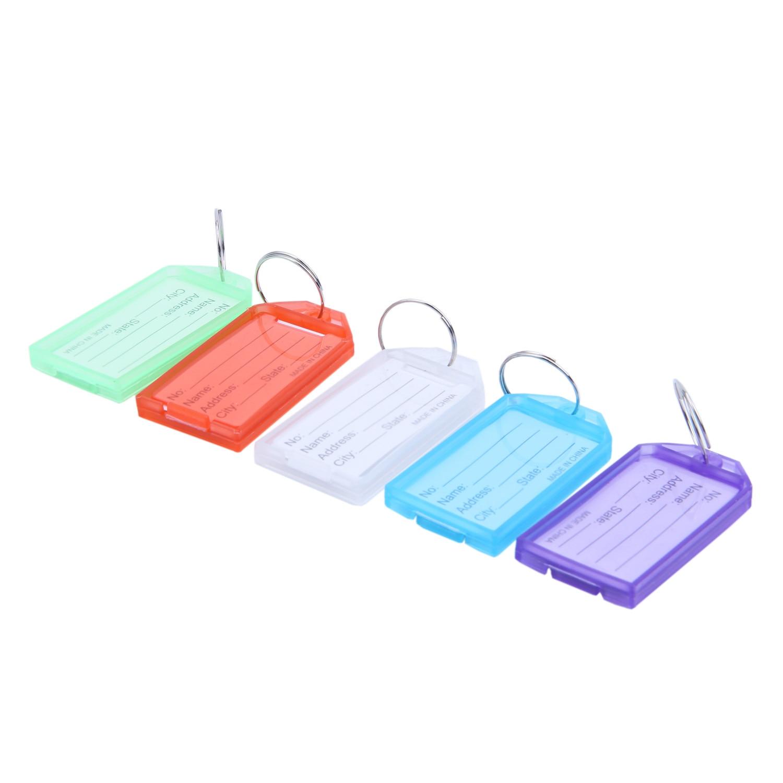 HOT-25Pcs Multicolor Plastic Key ID Label Tags W 2cm Dia Ring Keyring