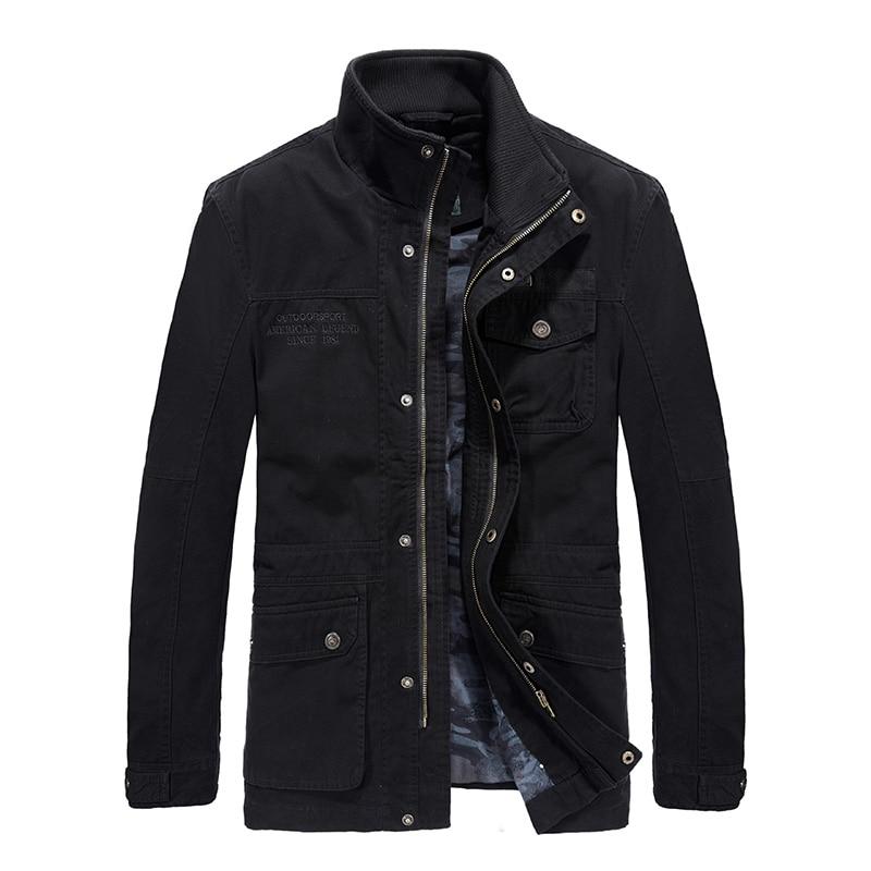 Di alta qualità moda hombre 2018 a medio lungo cappotto degli uomini del cotone di marca AFS JEEP dell'esercito degli uomini giacca casual uomini giacca blouson homme 5XL 6XL-in Giacche da Abbigliamento da uomo su  Gruppo 1