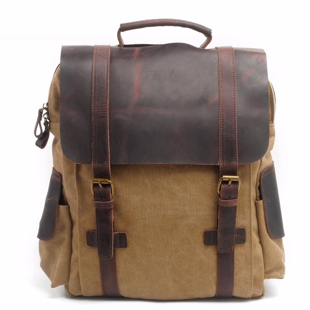 M141 New Fashion Backpack Leather Canvas Men Backpack School Bag Military Backpack Women Rucksack Male Knapsack Bagpack Mochila 2016 vintage leather canvas backpack male men s backpack school bag for teenager backpack korean bagpack rucksack mochila