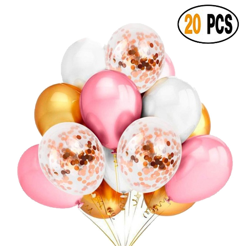 20pcs set happy birthday party oxygen balloon latex confetti party party wedding decoration children boys and girls party love in Ballons Accessories from Home Garden