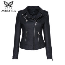AORRYVLA New Autumn Faux Leather Jackets Women 2017 Classic Black Color Turn-Down Collar Zipper Short Women Biker Leather Jacket