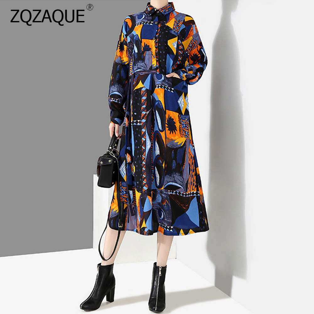Élégante nouvelle robe de chemise à manches longues pour femmes impression florale lumineuse belles robes longues de dame col rabattu robe de poche YJ02