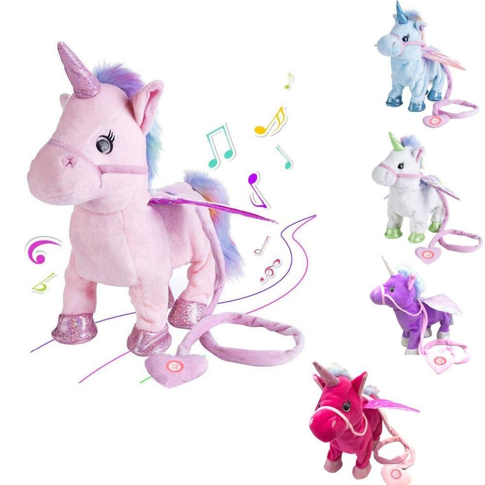 VIP Link Walking Unicorn peluche Animal de peluche de juguete suave música electrónica juguete para niños regalos de navidad
