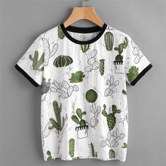 Tee Shirt Femme Imprimé Cactus