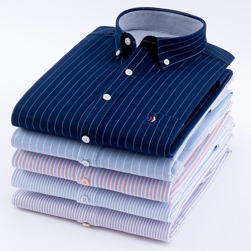 Men's Oxford 100% Cotton Fashion Stripe Casual Long Sleeve Shirts Retro Style High Quality Design Men's Dress Shirts Blouse