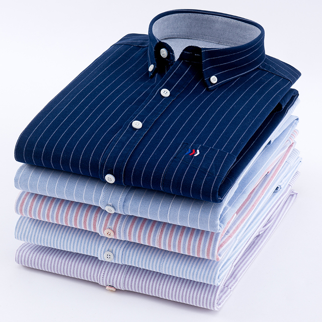 Mens Oxford 100% Cotton Fashion Stripe Casual Long Sleeve Shirts Retro Style High Quality Design Mens Dress Shirts Blouse
