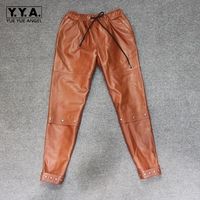 Для женщин штаны из натуральной кожи стрейчевое большого размера карандаш брюки для девочек женские высокое качество бренд заклепки Ботил