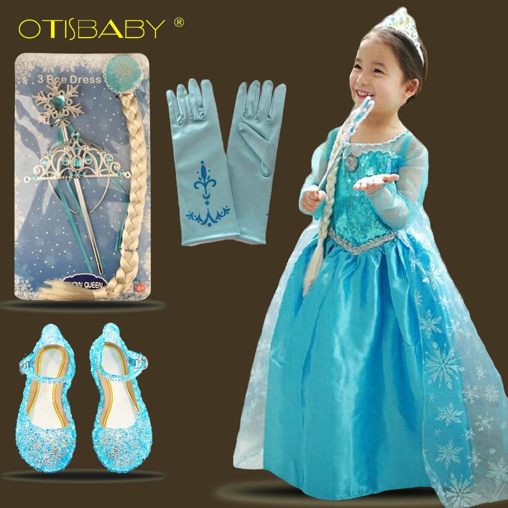 aab4bc9617868 Baby Girls Elsa Dress Floor Length Princess Birthday Party Ball Gown ...