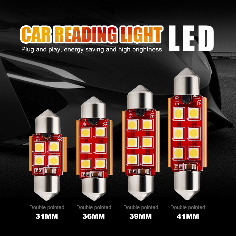 50pcs LED Festoon 31mm 36mm 39mm 41mm 3030 LED Car Dome Light C3W C5W C10W Auto Interior Reading Lamp Licence Plate Bulb Canbus
